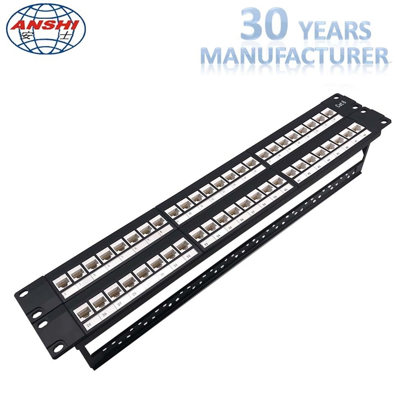 Unshielded UTP Network Rack Mount Patch Panel 2u 48 Port Keystone Jack Modular Type
