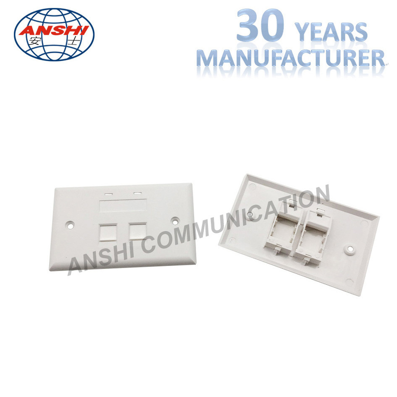 115*70 Wall Mount Network Cable Faceplate RJ45 RJ11 Single Port Horizontal Type